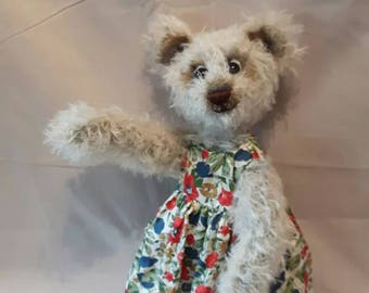 MAISIE  NOW ADOPTED,  was created with Steiff schulte mohair fabric, glass eyes and weighted, fully articulated head arms and