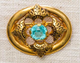 Gold & Aqua Blue Vintage Oval Brooch Broach Vtg Pin 7ii