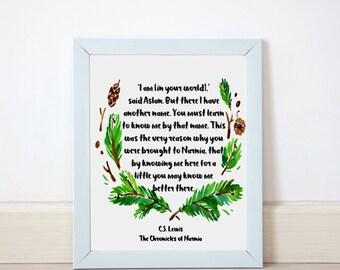 Narnia art, I am said Aslan CS Lewis, printable art, wreath, leaves, Chronicles of narnia, pine, printable artwork