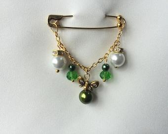 Embellished Green & Gold Safety Pin, Hijab Pin