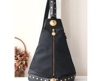 gianni versace bag black medusa leather tote authentic vintage. Black Bedroom Furniture Sets. Home Design Ideas