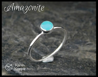 Size 7.5 ready to ship! Amazonite ring. Skinny sterling silver ring, hammered. Thin ring, stacking ring. December birthstone. 206