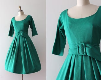 vintage 1950s Jerry Gilden dress // 50s structured dress with belt