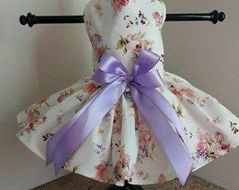Dog Dress Pink Roses with Lavender