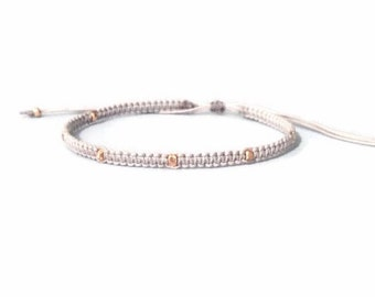 rose gold faceted nuggets stackable micro macrame friendship bracelet. reeses.