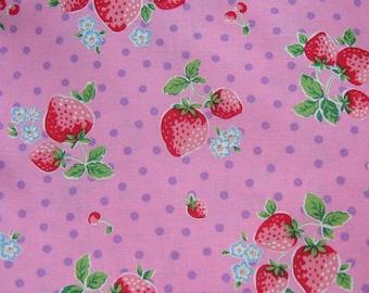 1 Yard Pink Strawberry Polka Dots  Cotton Fabric,Kawaii Fabric, By The Yard, Pink Fabric, Kawaii Fabric, Cotton Fabric, Polka Dots