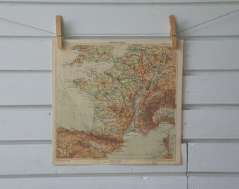1903 Vintage Map of France