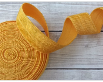 5/8 YELLOW GOLD Fold Over Elastic 5 or 10 YARDS
