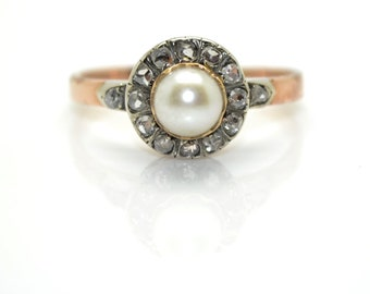 Vintage Pearl and diamond Daisy ring