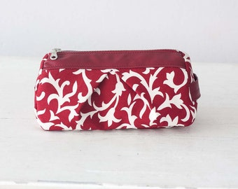 Red floral makeup bag, cosmetic case pencil case vanity storage bag zipper pouch baby shower gift - Estia Bag