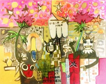 FreshMilk-Original acrylic painting, contemporary art, Pop Art, 50 x 64 cm, paper