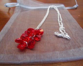 Red Swarovski Crystal Teardrop Necklace