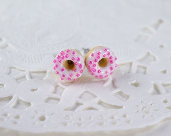 Chips donuts, gourmet gem, donuts, donuts polymer donuts with pink sugar candy, creation in polymer clay Stud Earrings