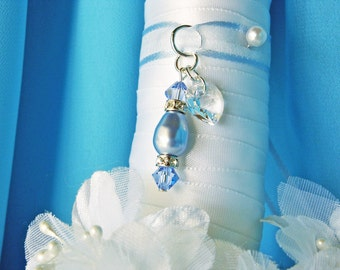 Something Blue Wedding Bouquet Charm Swarovski Crystal Bridal Bouquet Charm