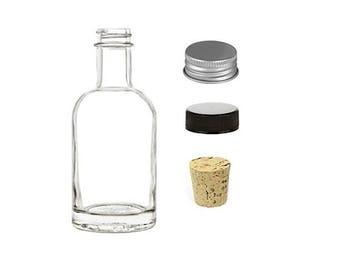 1 pc 200 ml Boston Glass Liquor Bottle with Silver Aluminium Cap, Bonus Cork Bottle Stopper and Black Screw Lid