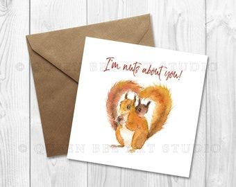 Squirrel Anniversary Card, Cute Anniversary Card, Cute Squirrel Card, Card for boyfriend, Animal Card, Card for girlfriend, Squirrel