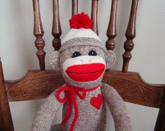 New Long Red Heel Sock Monkey Doll