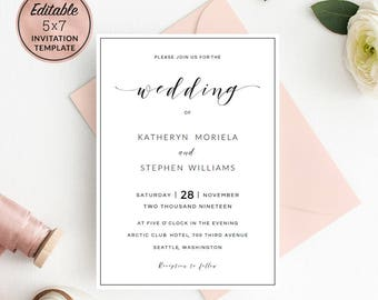 Modern Wedding Invitation Template Download, Calligraphy Wedding Invitation Template, Printable Editable Invitation PDF Instant Download.