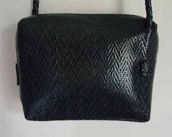 Tignanello Black Woven Leather Crossbody Bag