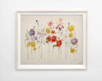 "Summer Flowers Print Botanical Archival Print - 8""x10"", 9""x12"" or 11""x14"""