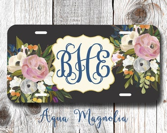 Watercolor Flowers - Personalized - License Plate Frame - Watercolor Floral Roses - Car Tag - Monogrammed License Plate