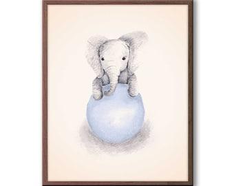 Baby Boy Nursery Decor, Elephant Nursery Art, Gray and Blue Nursery Decor, Kids Wall Art, Elephant Wall Art, Baby Boy Gift - E318N