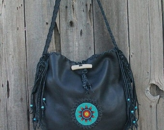 Designer handbag ,  Black leather tote ,  Beaded leather handbag ,  Large fringed handbag , Leather handbag  ,  boho tote bag