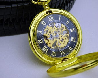 Premium Gold & Black Mechanical Pocket Watch, Watch Chain, Engraved, Personalized Gift, Groomsmen Gift, Watch - Item MPW186