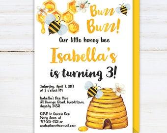 Bee Birthday Invitation, Bee Sweet Celebration Bee-Day Birthday Party Invite, Honey Bee, Bee Hive, Bumble Bee Birthday Invitation v.2