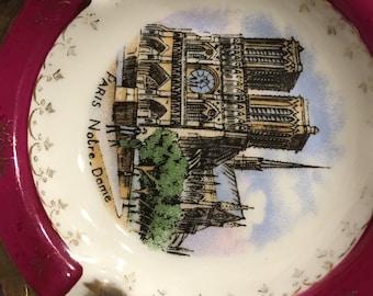 Limoges France Veritable Porcelaine D'Art JF NOTRE DAME Paris Souvenir Ashtray Limoges France