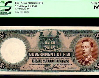 """FIJI P37i 5 Shillings PCGS 66 """"king george vith"""" 1949 finest known by all co's!"""