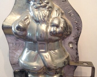 Antique Anton Reiche Santa Claus Chocolate Mold Dresden, Germany c 1920-30 Santa w Pack C. Weygant Candy Co. New York Distributor -Two Clips