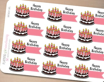 Birthday Cake for Girls || Birthday Countdown Reminder Planner Stickers Perfect for Erin Condren, Kikki K, Filofax and all other Planners
