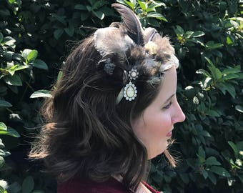 Natural feather fascinator headband .