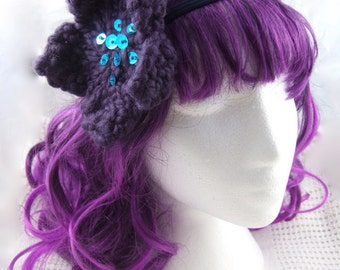 Deep purple & blue flower dreadlock hair tie/flower headband