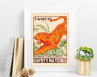 Vintage Tiger Matchbook print