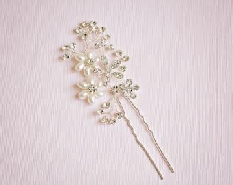 Bridal hair pin, Floral hair pin, Rhinestone hair pin, Silver hair vine, Bridesmaids hair, Flower hair pin, Silver hair pin