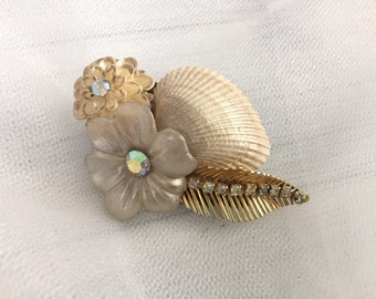Beach Wedding No.6 - Shimmering Gold Seashell and Vintage Rhinestone Bridal Mini Assemblage Hair clip, Coastal Wedding