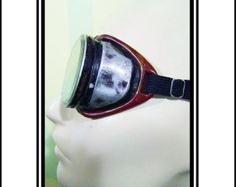 Vintage  Safety Goggles Distressed Worn Black Metal With Brown Accent And Clear Lenses