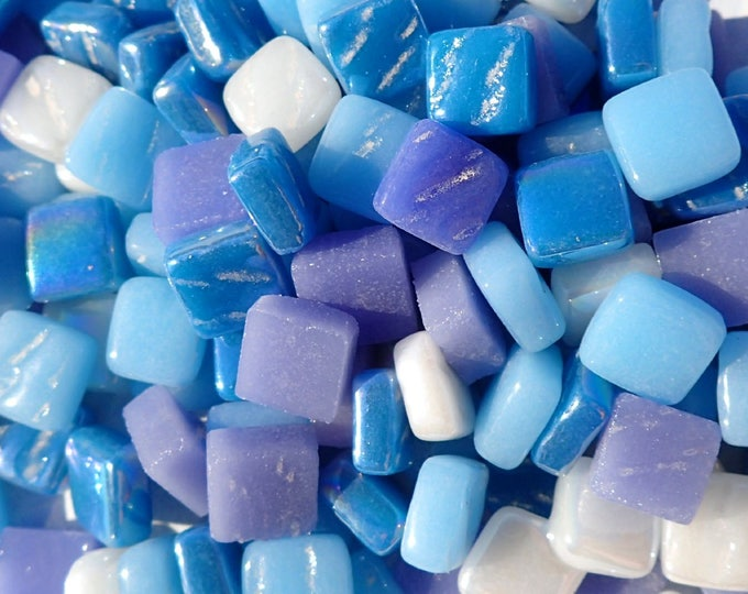 Summer Nights Mix of Blue and Purple Mini Glass Tiles - 8mm Square - 50 grams Opaque Glass Mix of Bright and Pale Iridescent and Matte Tiles