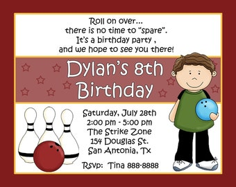 20 Bowling Birthday Party Invitations  - Bowling Alley Birthday Party  - Boy Version