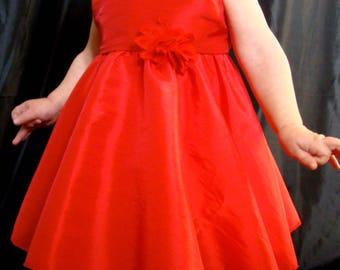 Baby 12/18 months red taffeta dress
