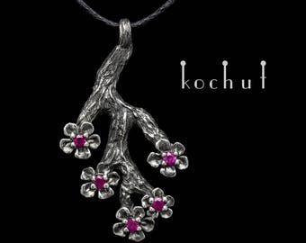 """Silver ruby pendant, ruby necklace, red ruby pendant. Real ruby necklace """"Sakura"""" from Kochut."""