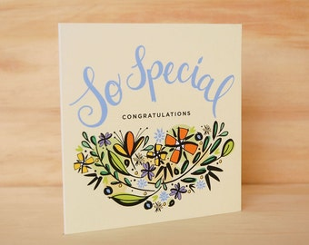 Congratulations card - Wedding Card | Engagement Card | Hand Lettered Card | Floral Greeting Card | Floral Stationery