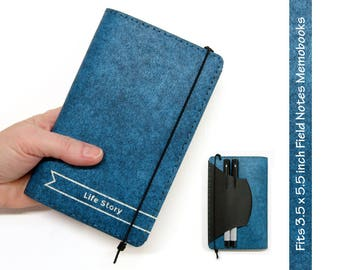 Personalized Kraft-tex Vegan Field Notes Cover w/ Pen Holder - Heather Blue - Fits 3.5 x 5.5 in. Field Notes / Moleskine Notebooks