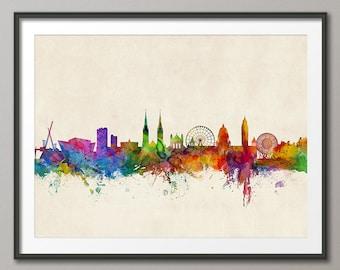 Belfast Skyline, Belfast Northern Ireland Cityscape, Art Print (1031)