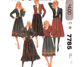 Jacket & Skirt Pattern McCalls 7785 Fitted Cropped Jacket Shaped Hem Full Skirt Womens Size 10 Vintage 1980s Sewing Pattern UNCUT
