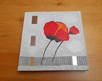 Square painting poppies on a grey background