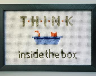 Think Inside the (Litter) Box Outside the Box Black Cat Cross Stitch Pattern