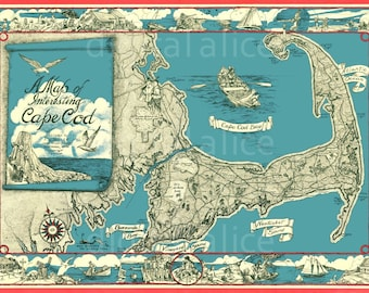 Vintage CAPE COD MAP - Cape COd Mass Pictorial Instant Download Digital Printable-  - 2 sizes